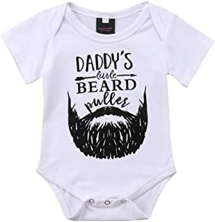 HOTWON Baby Boys Daddy's Little Beard Bodysuits Rompers One-Piece Cotton White Jumpsuits Clothes