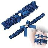 MWOOT Jarretière Mariage Bleu, Élastique Jarretière de Mariée Lot de 2, Accessoires de Robes de Mariage (Taille Unique), Cadeau de Mariage de la Mariée pour la Fête de Mariage
