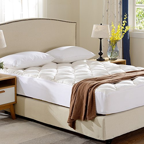 Cheer Collection Soft and Plush Bamboo Fitted Mattress Topper - Full Size - Ultra Plush Eco Friendly Comfort