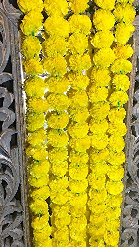 5 pack Artificial Yellow Marigold flower garlands 5 ft long- for use in parties, celebrations, Indian weddings, Indian themed event, decorations, house warming, photo prop, Diwali, Ganesh Fest