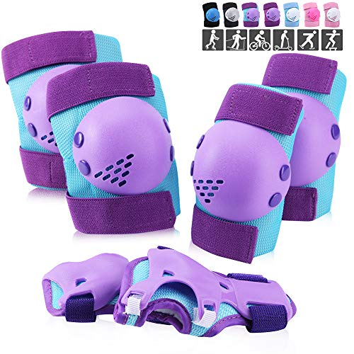Wemfg Kids/Youth Protective Gear Set, Knee Pads Elbow Pads Wrist Guards Set for Kids Toddler Youth 3-7 Years for Roller Skates Cycling BMX Bike Skateboard Inline Skatings Scooter Riding Multi-Sports
