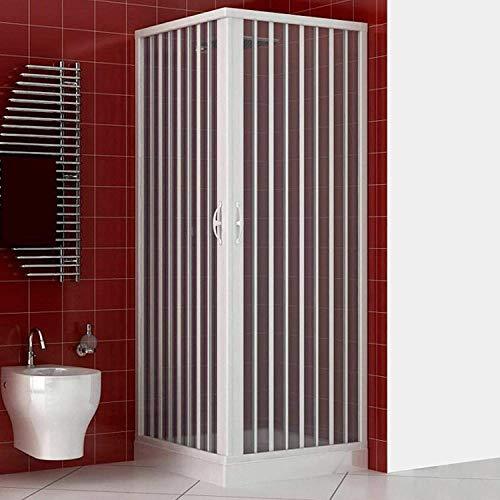 Cabina de ducha de 75 x 75 x 185 cm, modelo Paola de PVC, cabina con apertura angular, doble puerta semitransparente, con fuelle reducible y reversible de color blanco.