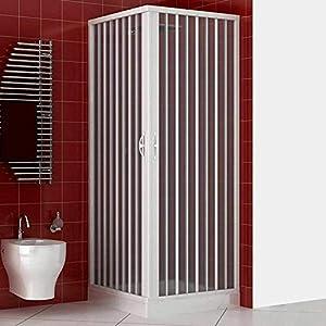 Cabina de ducha Paola de PVC con apertura de fuelle angular, medida reducida y resistente (80 x 120 cm)