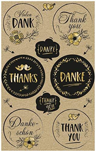 AVERY Zweckform Kraftpapier Aufkleber 26 Sticker Danke (Papier Sticker, Geschenkaufkleber, natur, braun, beige) 57121