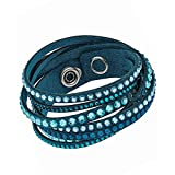 Swarovski Slake 5043496 Light Blue Alcantara Bracelet w/ Mixed Crystals...