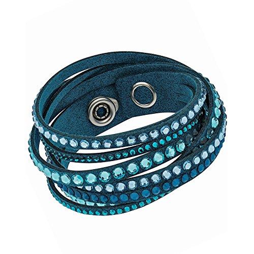 SWAROVSKI Slake 5043496 Light Blue Alcantara Bracelet w/Mixed Crystals