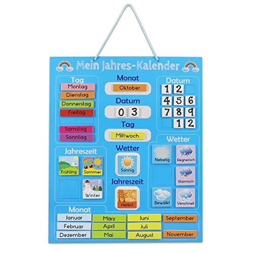Navaris Kalender Tafel für Kinder - Lerntafel Jahreszeiten Uhr - Magnet Spiel Lernuhr - Kinderkalender Jahreskalender - magnetisch - blau - deutsch
