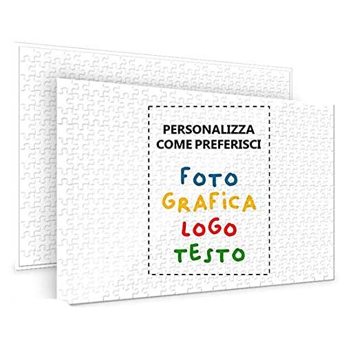Puzzle Personalizzabile Con Foto Logo Dedica e Scritta Idea Regalo Dimensione A4 Tassello Grande o Piccolo (A4-42 Pezzi)