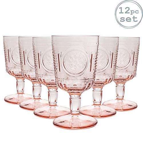 Bormioli Rocco Romantic - Juego de Copas para Vino - Diseño Italiano Tradicional - Rosa - 320ml - Pack de 12