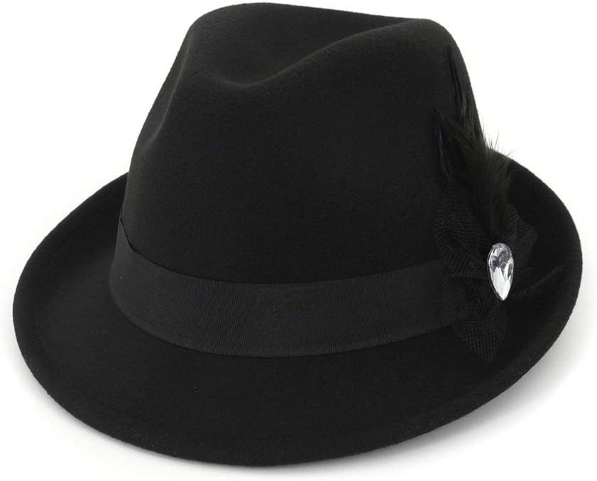 ZLQQLZ Women Cap Men Women Wool Fedora Hat with Feather Party Hat for Lady Outdoor Hat Panama Hat Hat (Color : Black, Size : 56-58)