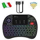 Rii Mini X8 Wireless + Cavo OTG F1 - Mini Tastiera retroilluminata con Mouse touchpad e rotellina di Scorrimento per Amazon Fire TV, Smart TV, TV Box, Mini PC, Playstation, Xbox, Computer