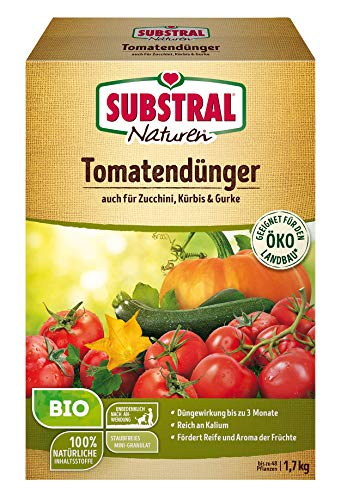Naturen Bio Tomatendünger, Organisch-mineralischer Volldünger für Tomaten, Kürbis, Zucchini mit natürlicher Langzeitwirkung, 1,7 kg