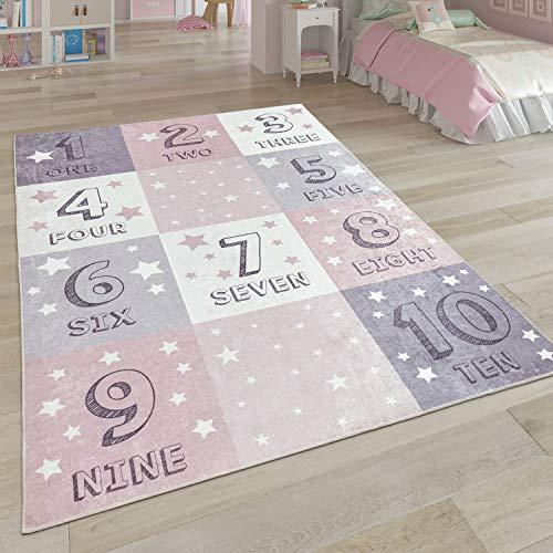 Paco Home Tapis pour Enfant Tapis Lavable Chambre Enfant Étoile Lune Et Carreaux, Dimension:160x230 cm, Couleur:Rose 4