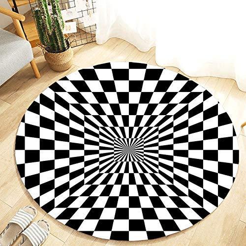 knowledgi 3D Area Rug Round- 3D Swirl Print Optische Täuschung Teppich Teppichboden Pad 3D Schwarz Weiß Plaid Visuelle Illusion Teppich, rutschfeste Fußmatte Matten Home Schlafzimmer