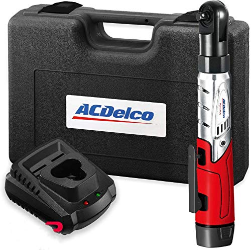 ACDelco Cordless 3/8' Ratchet Wrench 12V Angled 55 ft-lb Tool Set with...