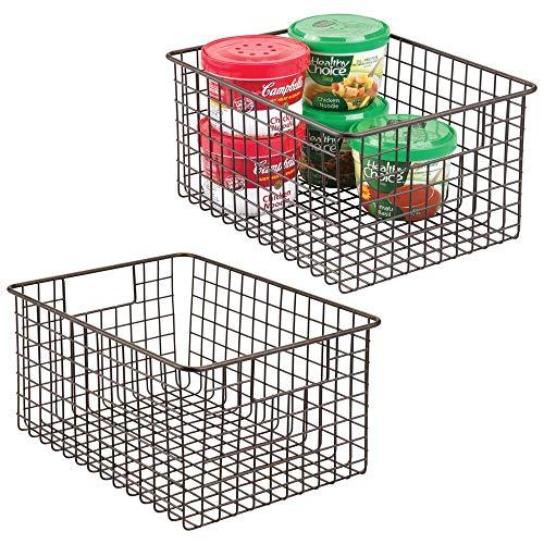 mDesign 2er-set Allzweckkorb aus Metalldraht – flexibler Aufbewahrungskorb für die Küche, Vorratskammer etc. – großer und universeller Drahtkorb mit Griffen – bronzefarben