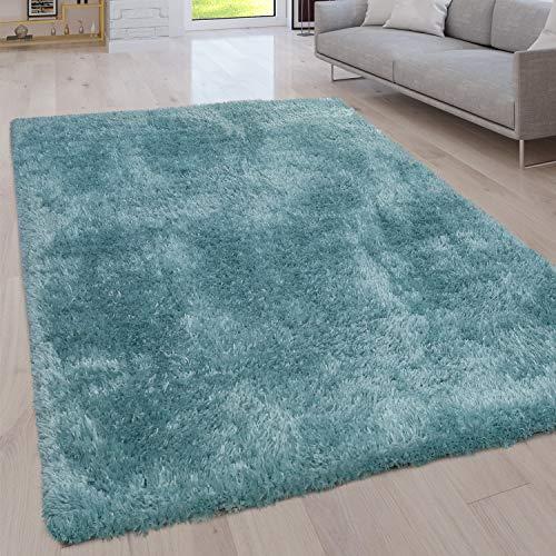 Paco Home Hochflor Wohnzimmer Teppich Waschbar Shaggy Uni In Versch. Größen u. Farben, Grösse:80x150 cm, Farbe:Türkis