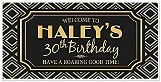 Roaring 20s Art Deco Birthday Banner Party Decoration Backdrop