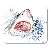 Mouse Pads Animal Shark Attack Graphics Splash Watercolor Unusual for Ocean Wildlife Mouse