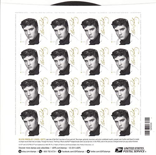 Sheet of 16 Elvis Presley Forever Stamps from the U.S. Postal Service (2015