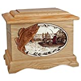 Wooden Cremation Urn - Ambassador Shape with Walleye Boat Fishing 3-Dimensional Inlay Wood Art Memorial - Funeral Urns for Adults (Oak)