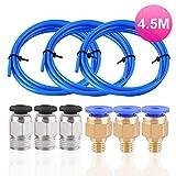 3 Stück PTFE Schlauch Blau Teflonschlauch (Insgesamt 4,5 Meter) mit 3 Stück PC4-M6 Pneumatik-anschlussstücke und 3 Stück PC4-M10 Verbinder für 3D-Drucker 1,75 mm Filament