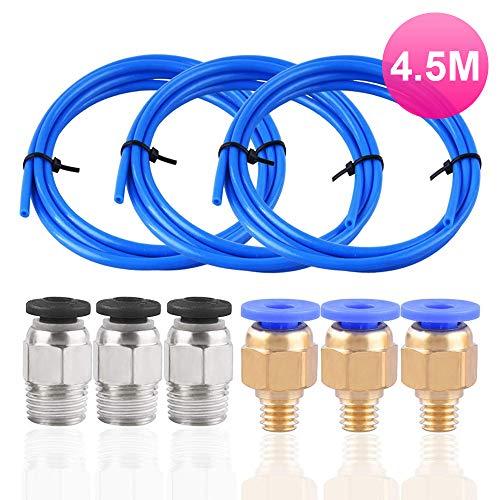 Qyuestore 3 Stück PTFE Schlauch Blau Teflonschlauch (Insgesamt 4,5 Meter) mit 3 Stück PC4-M6 Pneumatik-anschlussstücke und 3 Stück PC4-M10 Verbinder für 3D-Drucker 1,75 mm Filament