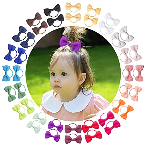 VINOBOW 40pcs Baby Hair Tie With Bow Mini Elastic 2mm Hair Ties Hair Band Accessories For Toddlers Baby Girls Infants In Pairs