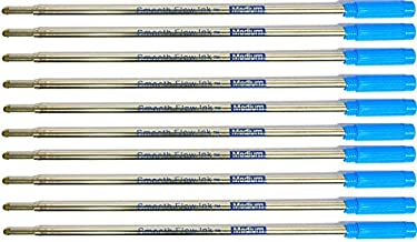 10 Pack - Cross Style Ballpoint Pen Refills - Medium Point - Smooth Flow (BULK PACKED) (Blue)