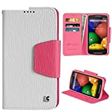 PimpCase Compatible with Moto E Case, XT1021, (1st Generation) Dual Slim White Pink Synthetic Leather [Flip Wallet Cover] with Magnetic Closure Design Built in Kickstand