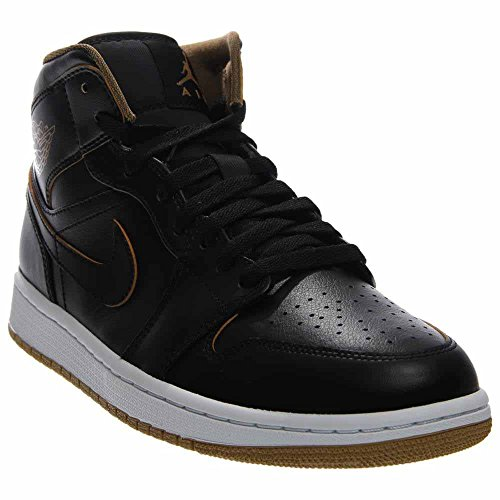 Nike Men's Air Jordan 1 Mid Black/Metallic Gold/White Basketball Shoe - 10.5 D(M) US