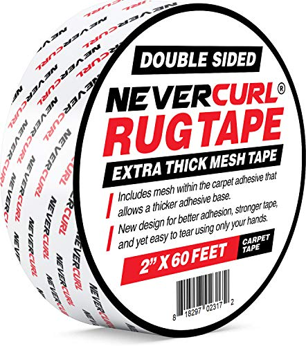 """NeverCurl Double Sided Extra Thick Rug Tape with Mesh Fabric - 2"""" by 60 Feet Roll - Anti Slip Non Skid Gripper Tape For Rugs, Mats, Pads, Runners - Indoors Work on Any Floor - Hardwood Tiles Laminates"""