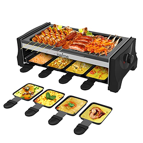 LOEFME Indoor Grill & Outdoor Electric Grills Nonstick Baking Pan Raclette Grill with Adjustable Temperature Control with 8 Mini Nonstick Pans Ideal for 2-8 People with BBQ Parties & Family Fun