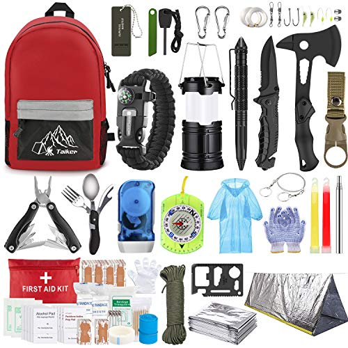 Emergency Survival Kit, 151 Pcs Survival Gear First Aid Kit, Outdoor Trauma Bag with Tactical...