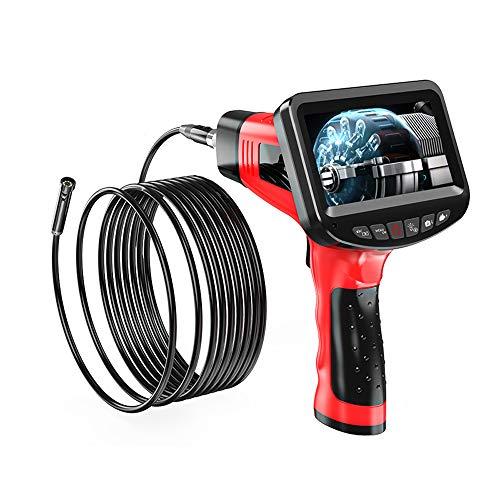 MOOLFN Endoscopio Industrial de Mano, cámara de inspección de 8.5 mm, 1080P HD, boroscopio de Mano, cámara de Doble Lente, 6 Luces LED, IP67 a Prueba de Agua, Tarjeta TF,5M
