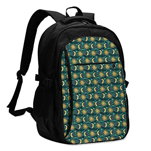 XCNGG Sun and Moon Unisex Travel Laptop Backpack with USB Charging Port School Anti-Theft Bag