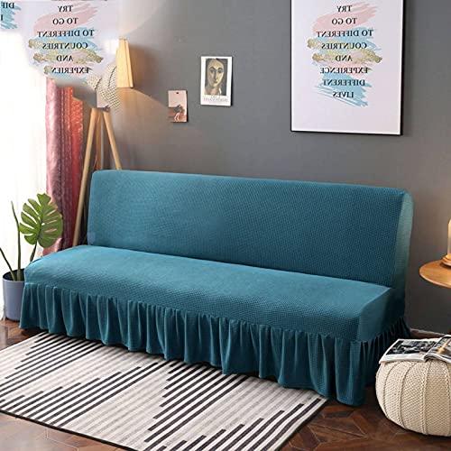 Funda De Sofa Sofa Cama, con Falda Sofá Sin Apoyabrazos Spandex Funda De Sofá Elástica Y Suave Funda Cubre Sofá Funda De Sofa Apto Sala-S 120-140cm(48-56in)-Azul