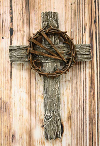 Ebros Rugged Wood Crucifix With Faux Rusted Driven Nails And Crown Of Thorns Wall Cross Decor Plaque Vintage Art Hanging Sculpture 14' Tall Catholic Christian Accent Decorative Crosses