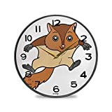 ALUONI Silent Wall Clock Battery Operated Non-Ticking, Flying Squirrel Decorative for Kitchen Home Office School Living Room Wall Decor 9.5' No07037