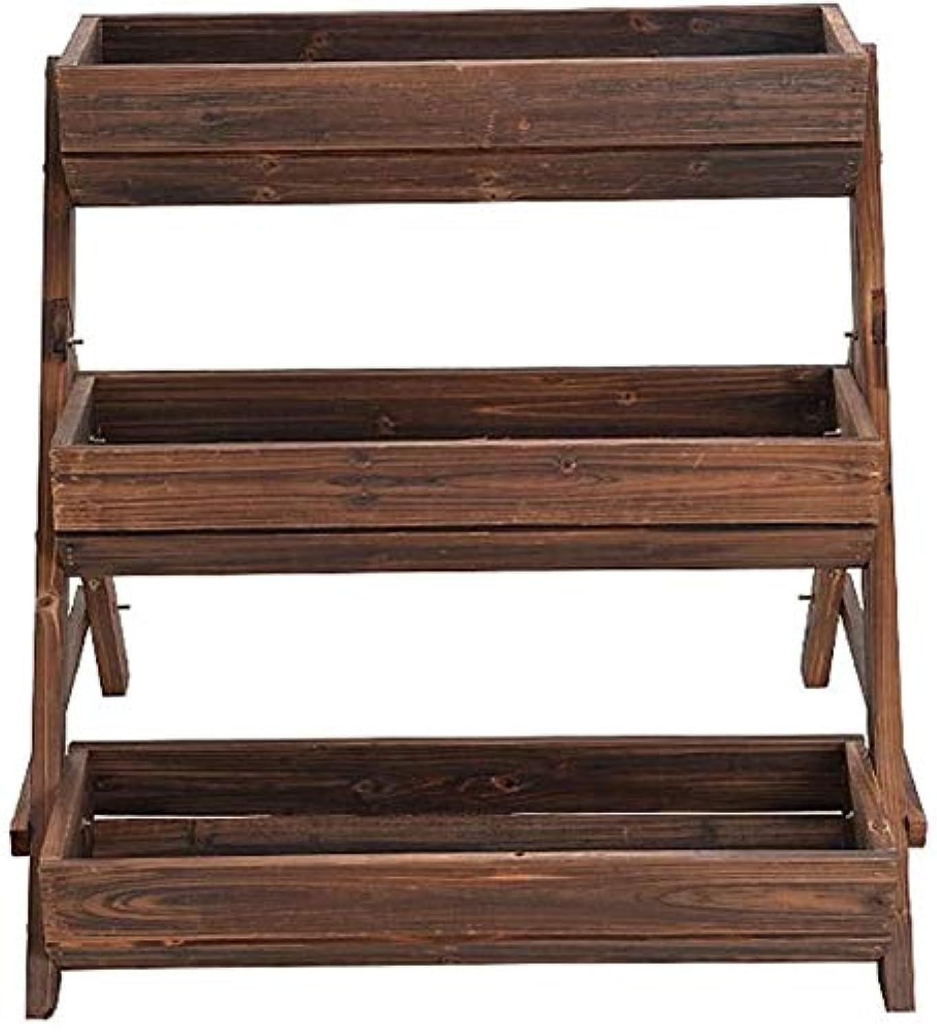お酢何よりもショッピングセンターYOULAN フラワースタンド フラワートレイプラントフレーム木製リビングルームバルコニー屋外展示ラック化粧枠鉢植え3つのレイヤー78x58x71cmスタンド 花台