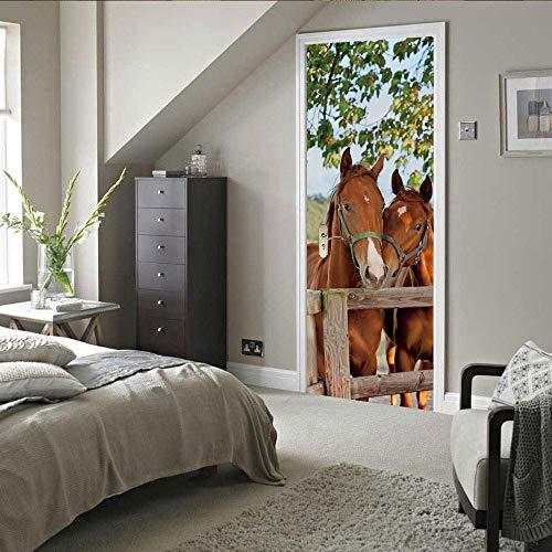 3D Deur Stickers Hek Paard Zelfklevende muur Art Stickers Voor Slaapkamer Huis Woonkamer Office Badkamer Verbetering.