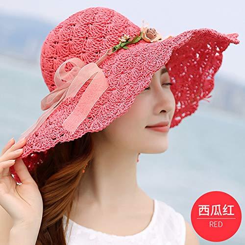 kyprx Gorra de béisbol de Color sólido Béisbol de Colores Flor Mujer Gran Sombrero de Playa Sombrero para el Sol Protector Solar Plegable Sombrero de protección UV Rojo sandía