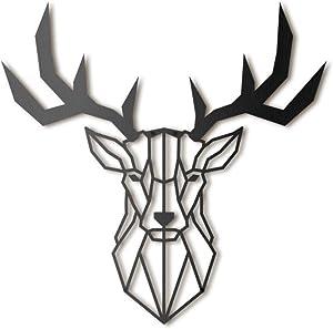 Deer Head Metal Wall Art by Hoagard | Hirschkopf Metall Wandkunst von Hoagard | 47 cm x 53 cm | Geometrische Metallwandkunst, Wanddekoration