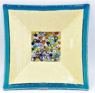 LE GEMME DI VENEZIA Murano Collection - Plato de Cristal de Murano con Inserto de Murrine Millefiori Fabricado en Italia