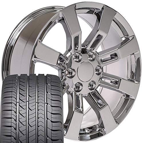 OE Wheels LLC 20 Inch Fits Chevy Silverado Tahoe GMC Sierra Yukon Cadillac Escalade CV82 Chrome 20x8 Rims Hollander 5409 Goodyear LS2 Tires SET