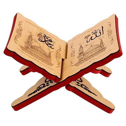 ABOOFAN Estante de Livros Islã Eid Estante de Livro de Orações de Madeira Eid Mubarak Estante de Armazenamento de Livros da Bíblia Sagrada Do Corão Estante de Exposição Ramadan Estante de