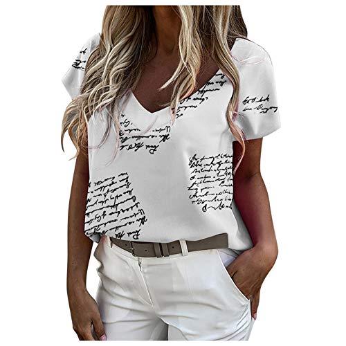 2021 Nuevo Camiseta Mujer Moda Verano Manga Corta Impresión Cartas Blusa Camisa...