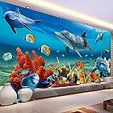 Papel Tapiz Mural 3D Personalizado Para Niños,Papel De Pared De Pez Delfín Submarino,Fondo De Pared De Acuario,Decoración De Habitación,Ropa De Cama Para Niños,350*256Cm