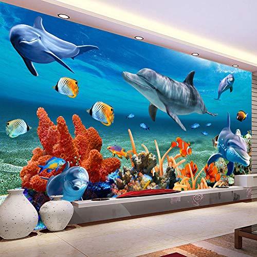 Muurschildering behang 3D oceaan dolfijn vis koraal woonkamer bank TV achtergrond vliesbehang slaapkamer muur 3D-350 * 256cm