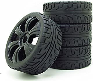 RC Off-Road Buggy 1:8 Hex 17mm 6 Spoke Wheel Rims H Thread Pattern Tyre Tires Black